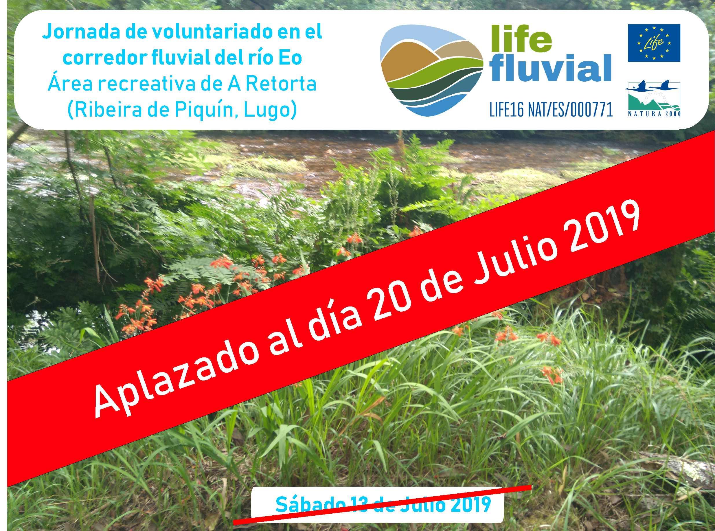 Jornada de voluntariado del día 13 aplazada al día 20 de julio en el corredor fluvial del río Eo